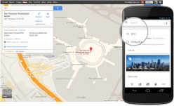 Search for your upcoming airport or dinner destination