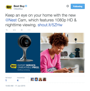 Best Buy on Twitter: %22Keep an eye on your home with the new @Nest Cam, which features 1080p HD & nighttime viewing. http:::t.co:KZynvk5X61 http:::t.co:EQJcTEHFTV%22 2015-06-17 11-13-50