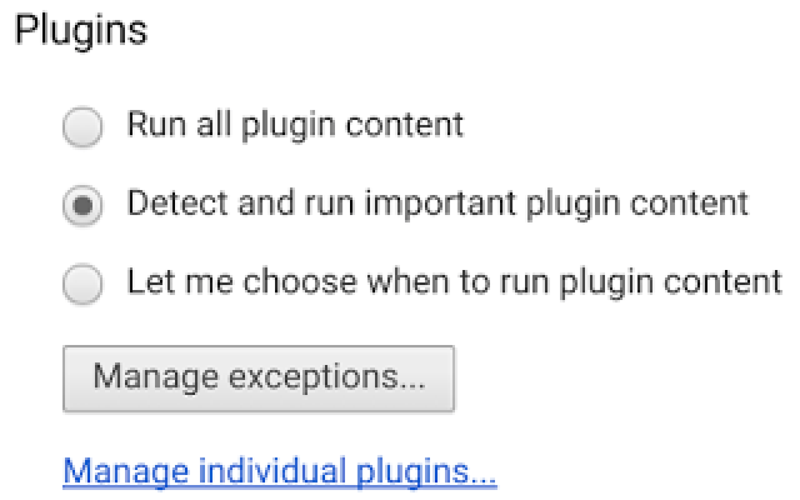 manage exceptions flash chrome