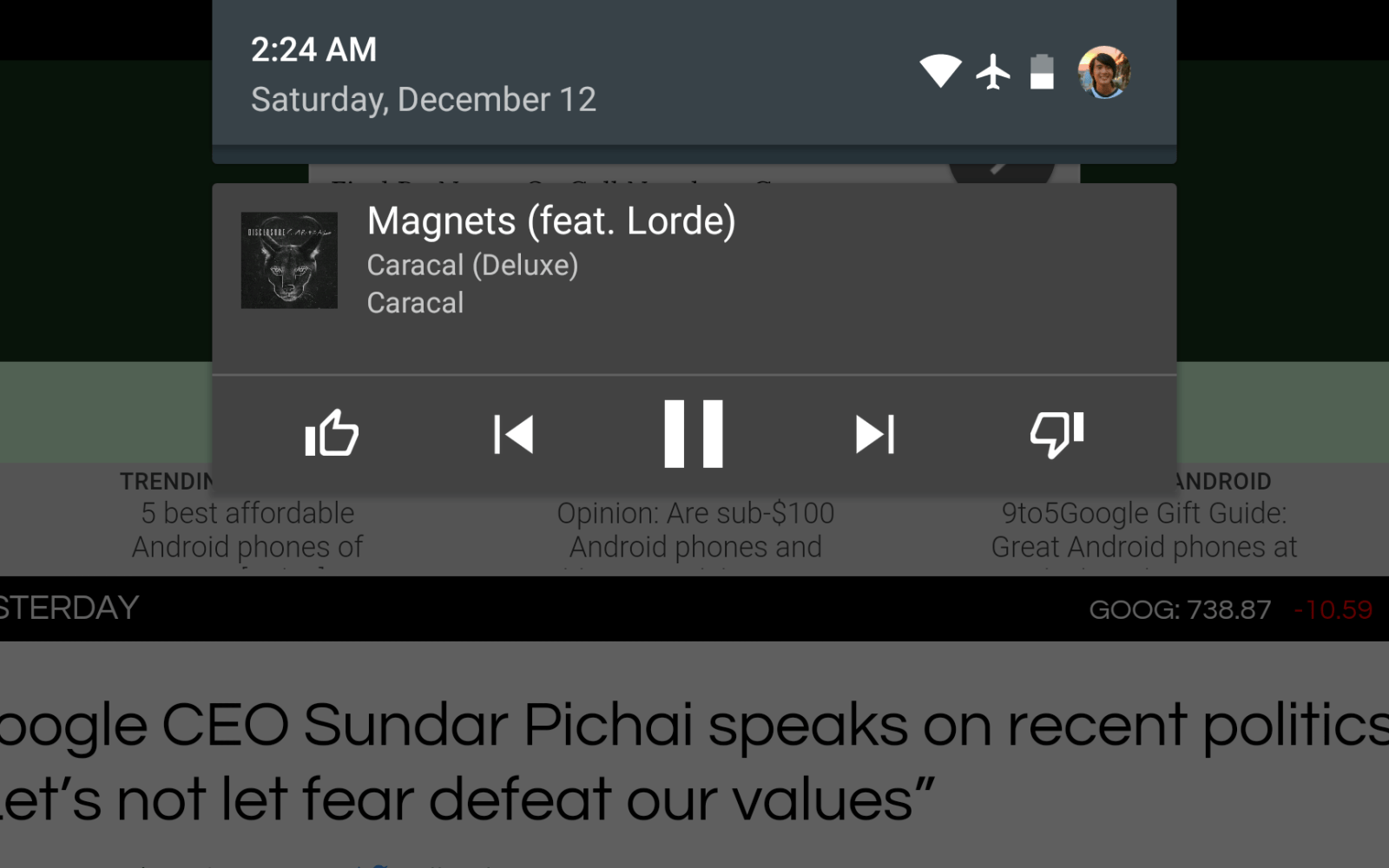 Play Music app update redesigns music controls in notification drawer