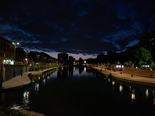 """This is Milan's """"Darsena"""" at night. I honestly still have a hard time believing my smartphone took this shot."""