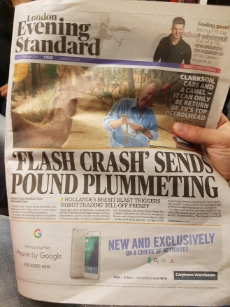 Front page of The Evening Standard, a free newspaper you can find at each of the tube's stops.