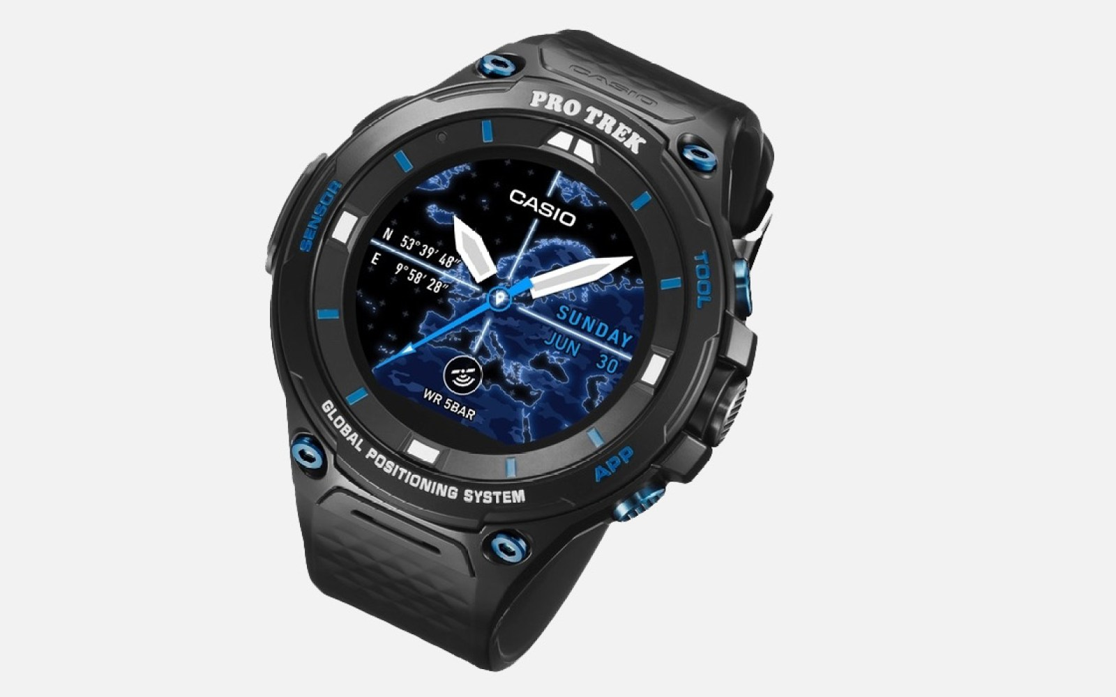 Casio's Pro-Trek WSD-F20S adds a sapphire display and blue color to the sporty Android Wear 2.0 watch