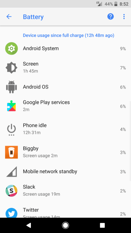 Device usage list in Android Oreo