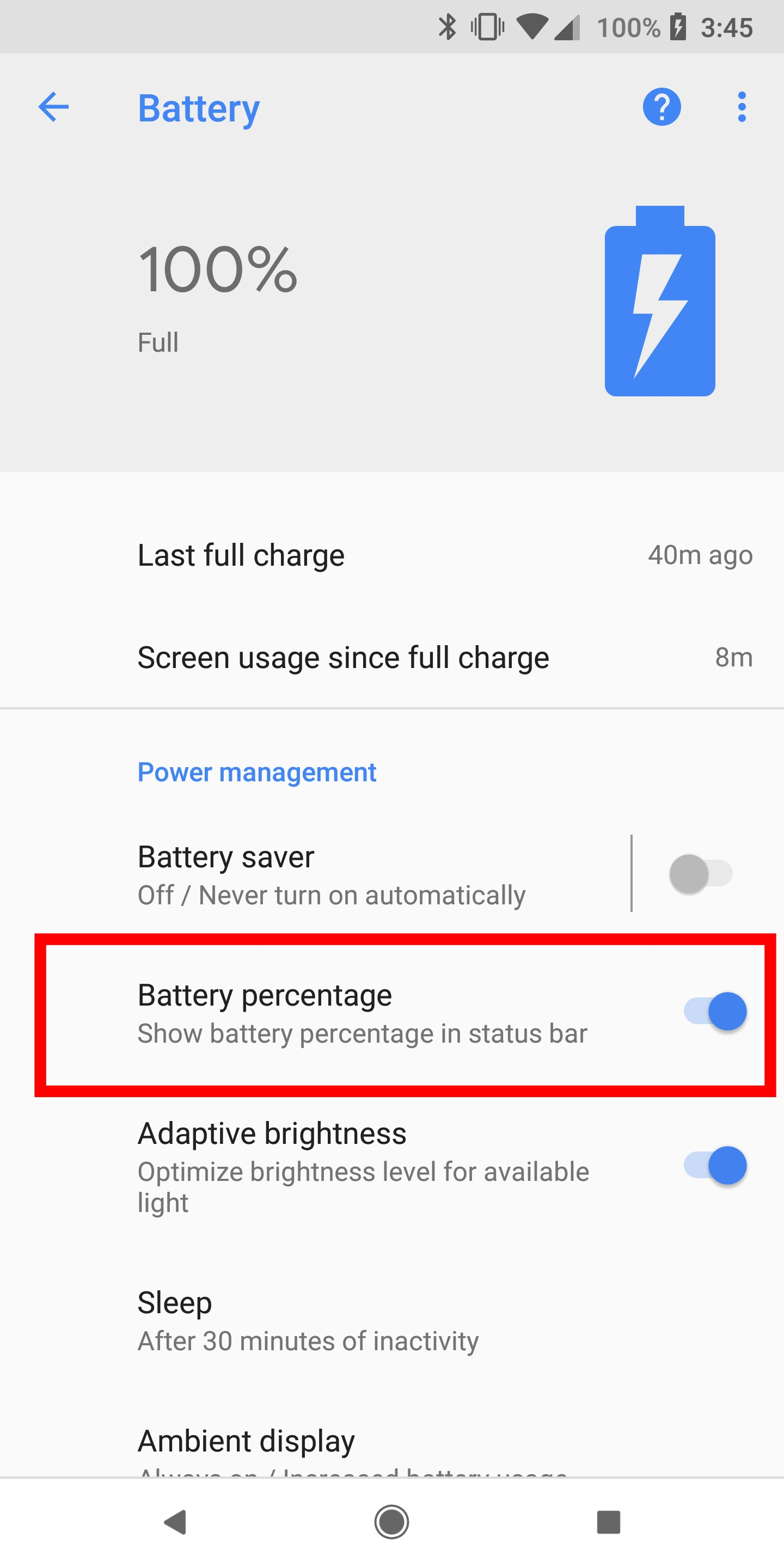 How to turn on or off battery percentage on Google Pixel 2