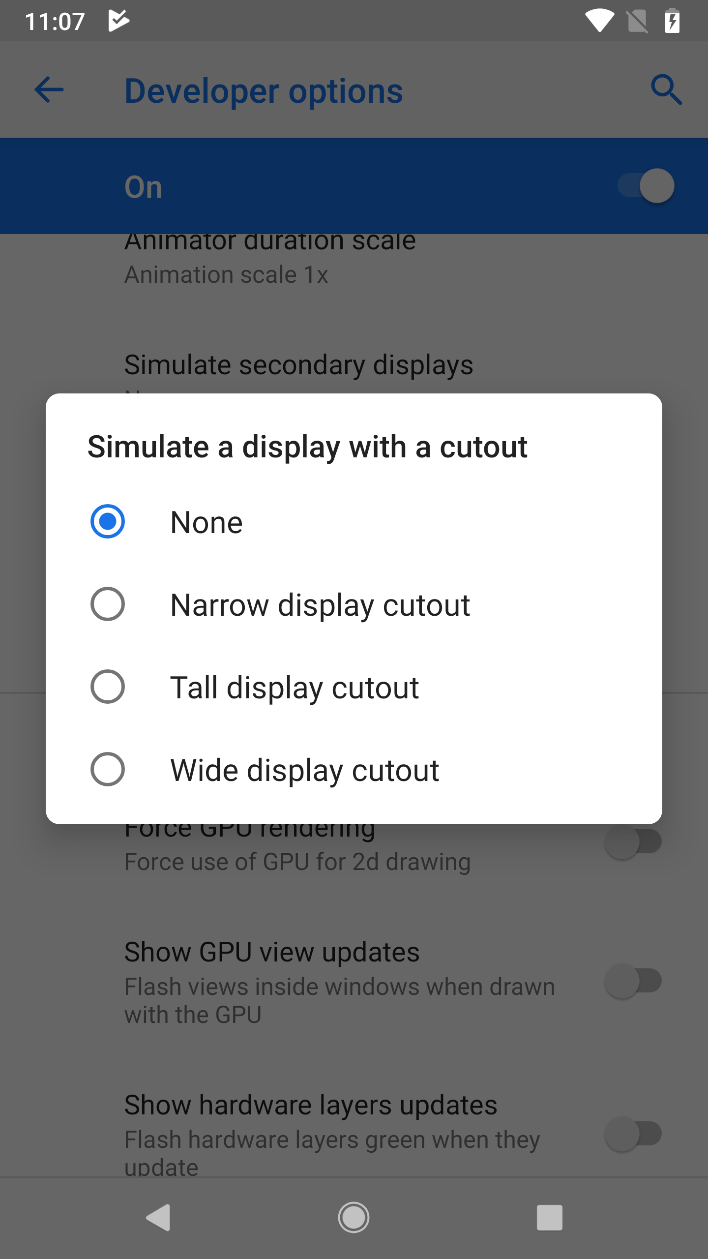 How to simulate a display cutout / notch on Android P Developer