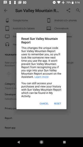 Existing 'Reset app' option