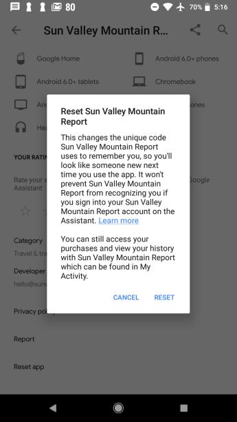 Existing 'Reset app' option