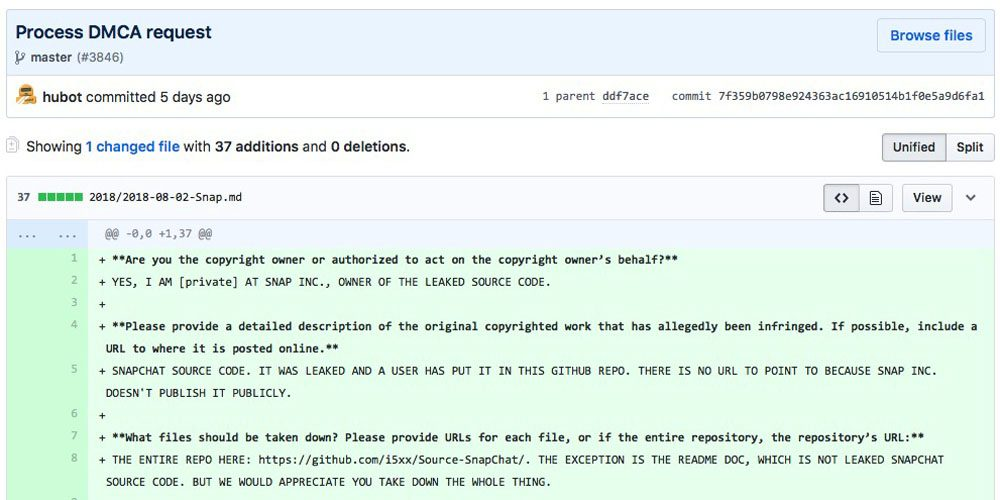 Some Snapchat Source Code Leaked On Github Removed After All Caps Dcma