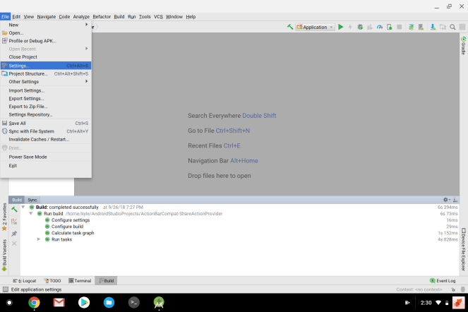 Flutter on Chrome OS Android Studio settings