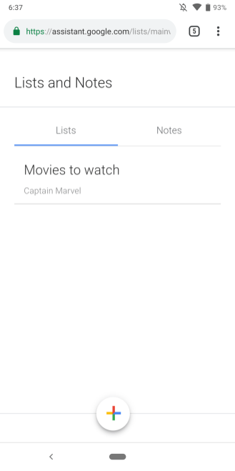 Google Assistant Lists and Notes