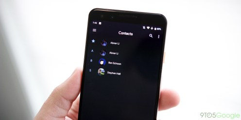 Google Contacts dark theme