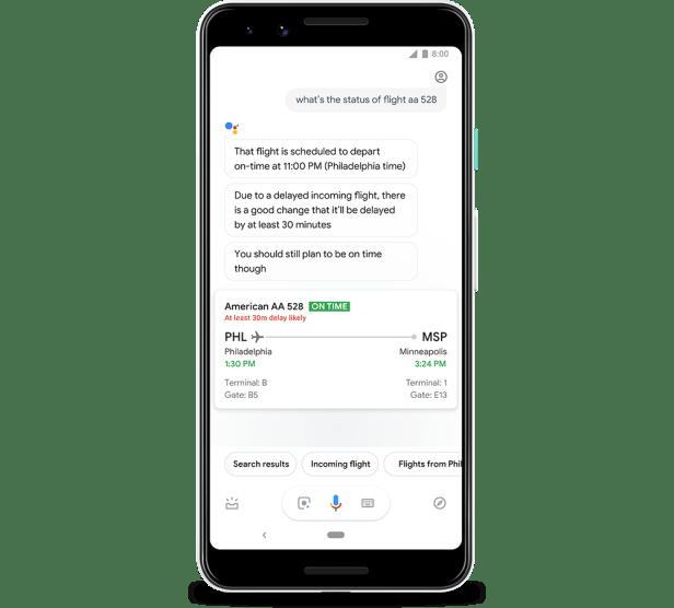 Google Assistant flight delay alerts