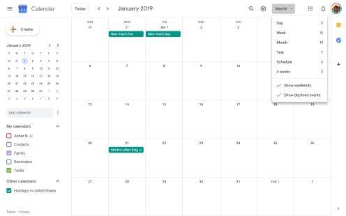 Google Calendar Material Theme tweaks