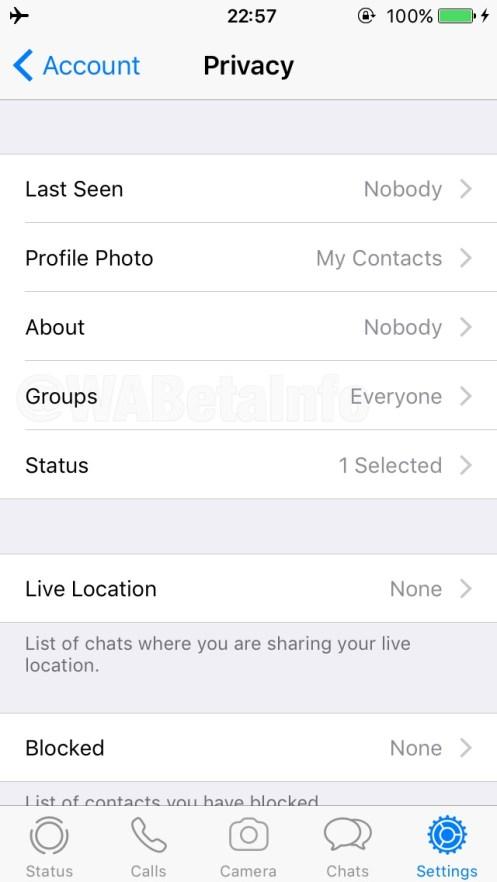 WhatsApp Group Invitation privacy settings