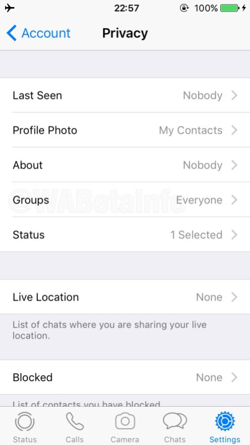 WhatsApp Group Invitation privacy settings