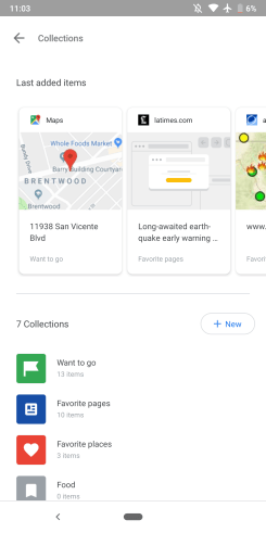 Google app 9.27 Sharing Collections