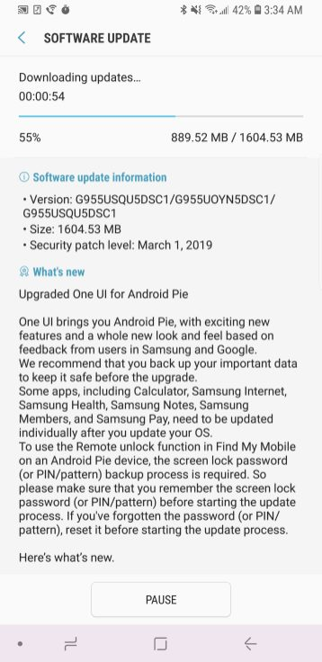 T-Mobile Android Pie Galaxy S8
