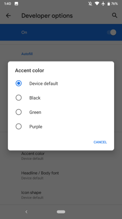 Android Q Beta 1 Theming