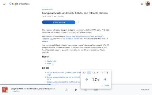 Google Podcasts desktop web app