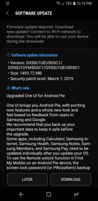 Android Pie Galaxy S8 unlocked US users