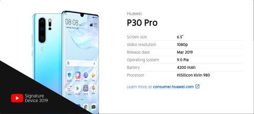Huawei P30 Pro YouTube Signature device info