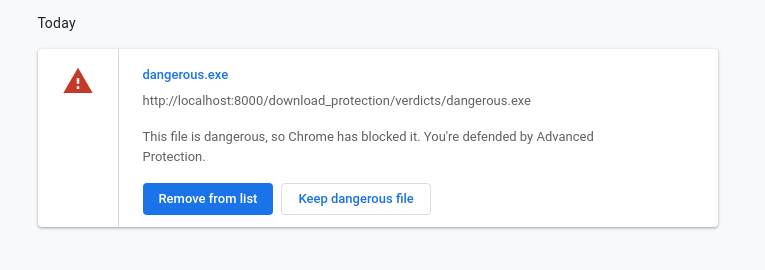 Chrome Advanced Protection dangerous file