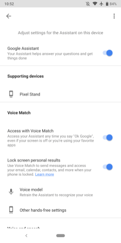 Assistant phone settings Material Theme