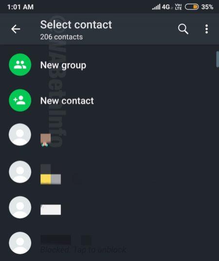 WhatsApp Night Mode contact picker
