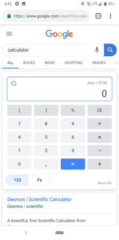 Google calculator Material Theme