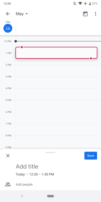 Google Calendar bottom sheet