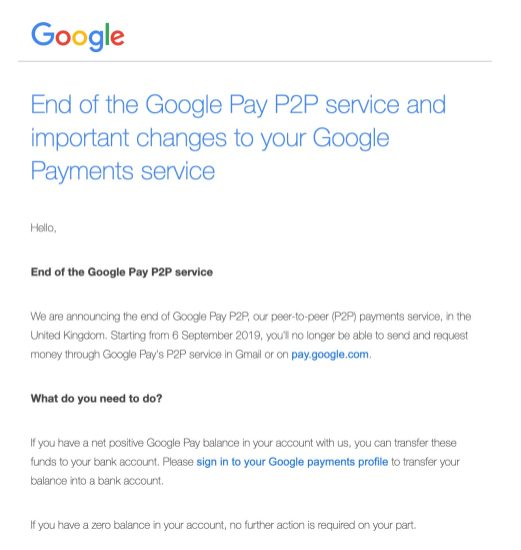Google Pay killing P2P UK