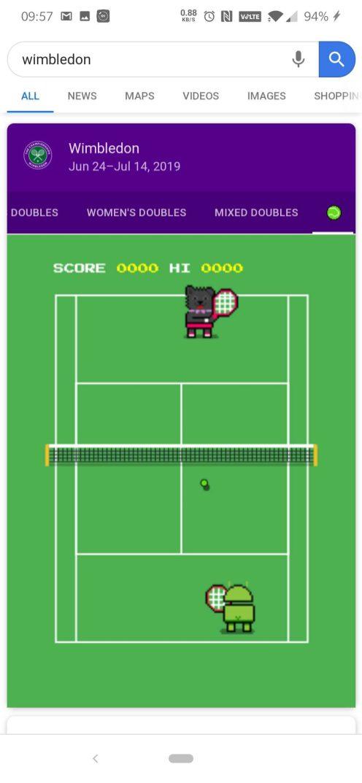 Google Search Wimbledon easter egg 2019