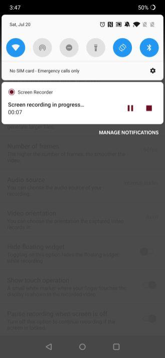 oneplus screen recorder widget
