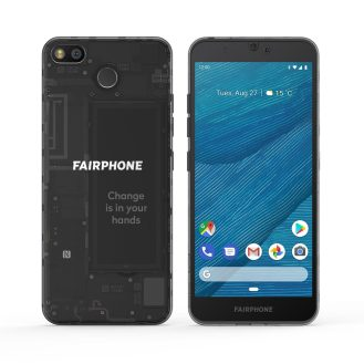 Fairphone 3 front and rear
