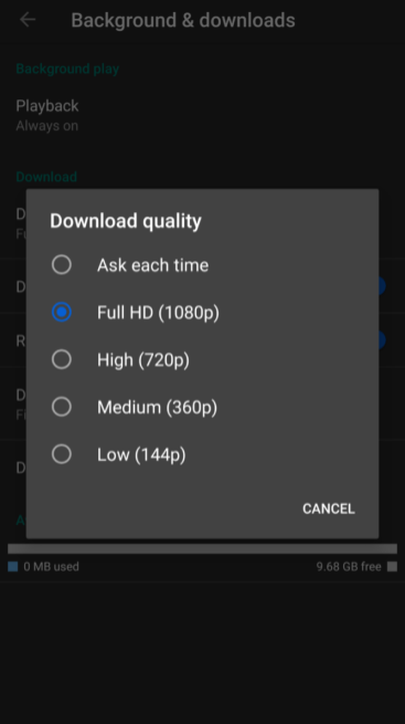 YouTube Premium 1080p downloads Android