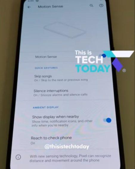 pixel 4 motion sense settings