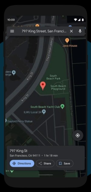 google maps android 10 dark mode
