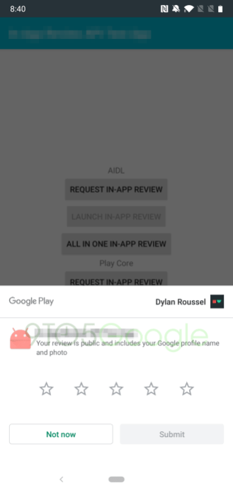 Here's how Play Store's in-app review system will look