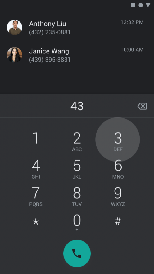 Google Voice dark theme