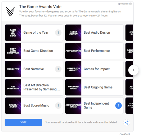 The Game Awards ballot in Google Search