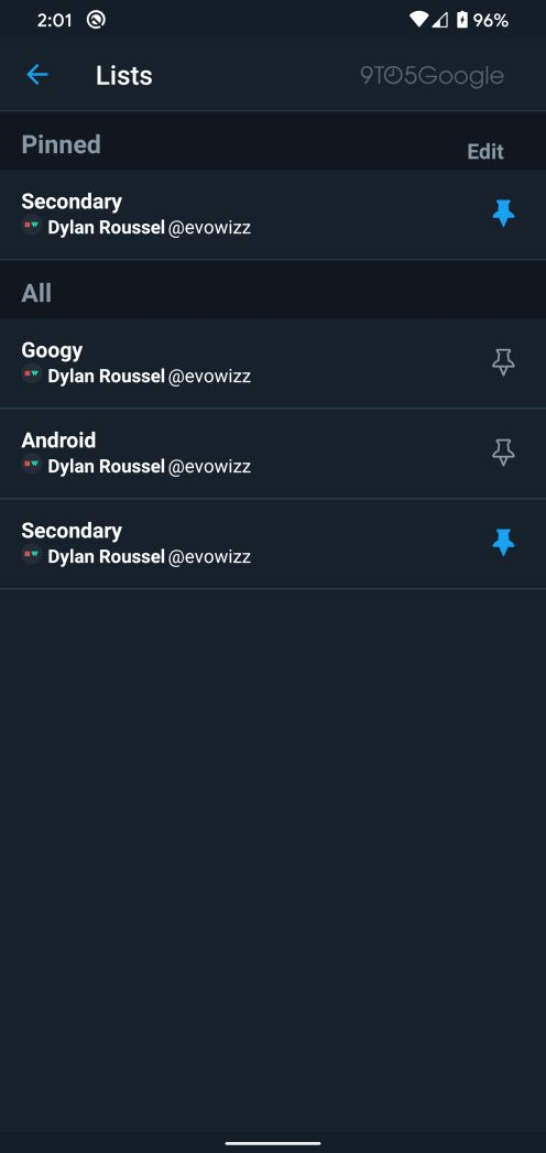 twitter pinned lists android