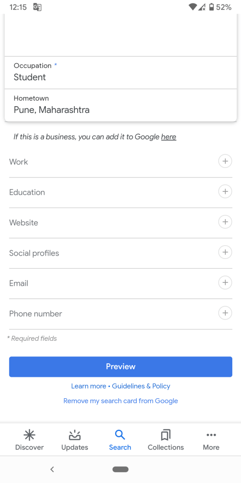 Google Search create profile card