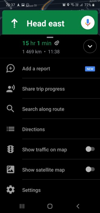"""Swipe up from the bottom toolbar and choose """"Share trip progress"""""""