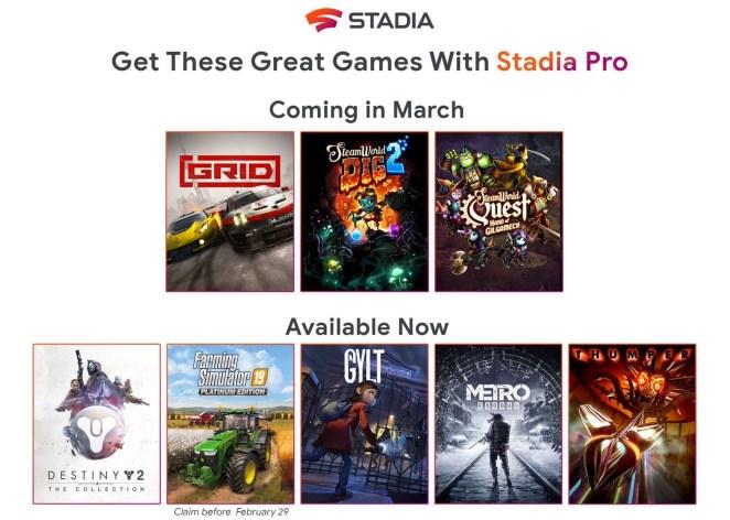 Google adiciona três jogos ao Stadia Pro