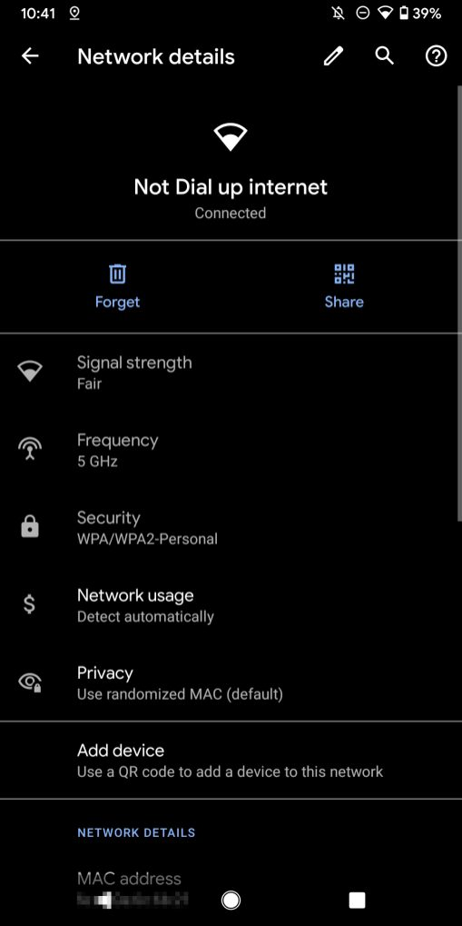 Android 10 Wi-Fi settings