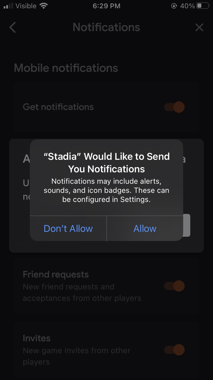 Stadia iOS notification settings