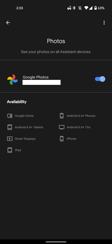 Google Assistant Photos settings