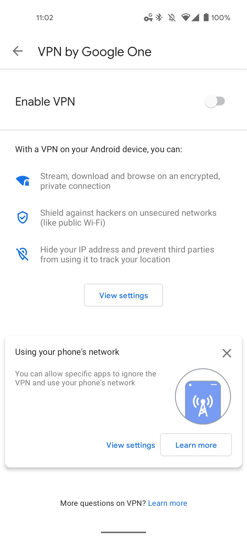 Google One VPN bypass