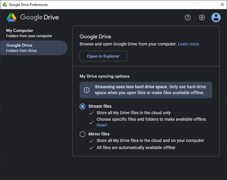 new Google Drive desktop